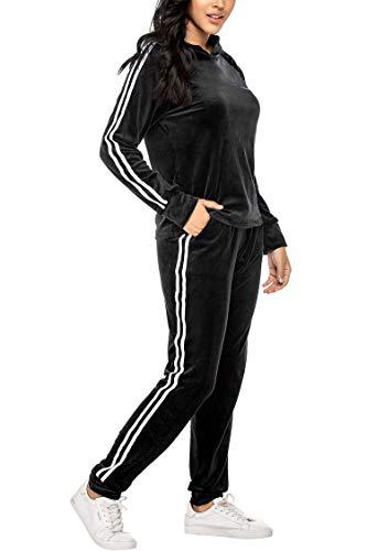 Unibelle Damen Trainingsanzug Jogginganzug Velours Kapuzenpullover und Hose Sportbekleidung mit Reißverschluss Kordelzug Taschen Hoodie Sweat Set, Schwarz, XXL