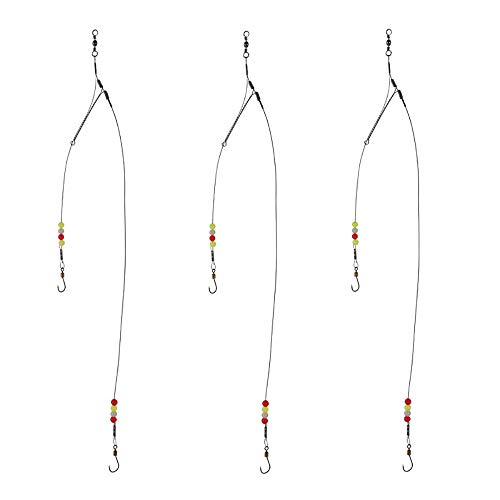 Dyxssm Fishing Hook Line Stainless Steel, Fishing Rigs Wire Leader with Rolling Swivel and Barb Hooks (Type-A: 2 Hooks rig, 20#)