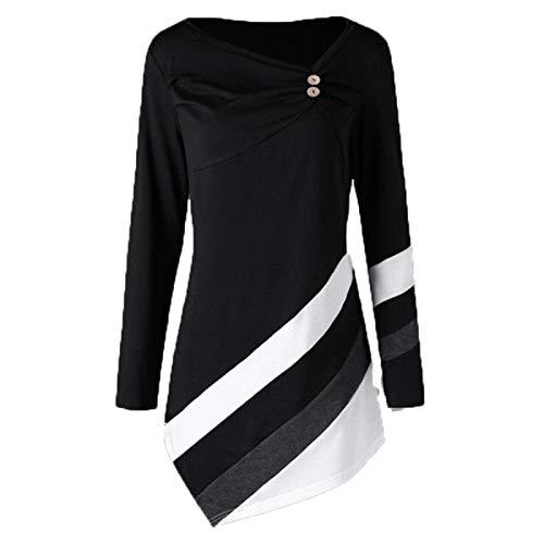 SLYZ Damas Europeas Y Americanas Otoño E Invierno Estampado De Pata De Gallo Bolsillo con Cremallera PU Blusa De Vestir Delgada
