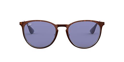 Ray-Ban RB3539 Erika Round Metal Sunglasses, Havana Silver/Dark Violet, 54 mm