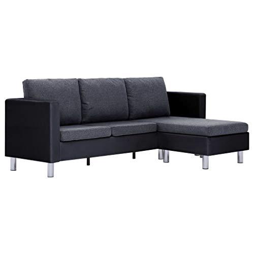 vidaXL Sofa 3-Sitzer mit Kissen L-Form Ecksofa Eckcouch Ledersofa Couch Polstersofa Wohnlandschaft Loungesofa Wohnzimmersofa Schwarz Kunstleder