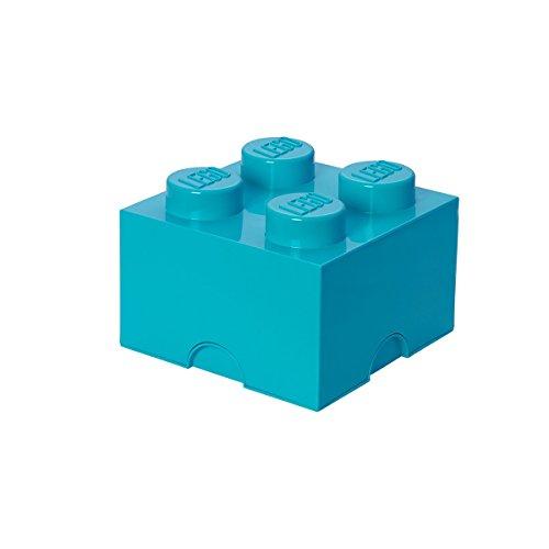 LEGO Aufbewahrungsstein, 4 Noppen, Stapelbare Aufbewahrungsbox, 5,7 l, türkis