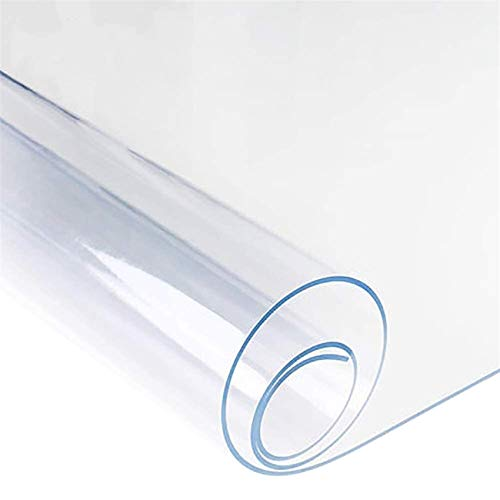 La cubierta de mantel de plástico transparente fuerte de 2 mm se puede limpiar con un protector de mesa impermeable de PVC(Size:80 * 80CM)