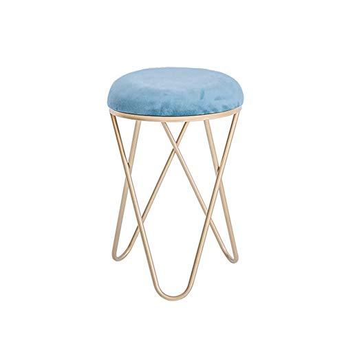 DGSD Moderner minimalistischer Ankleidehocker, Wohnzimmer-Couchtisch, runder Hocker, Schuhwechselhocker, runder Hocker der Umkleidekabine,Blue
