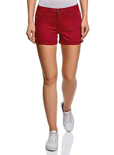 RIFICZECH s.r.o. oodji Ultra Damen Stretch Jeansshorts mit Aufschlägen, Rot, S