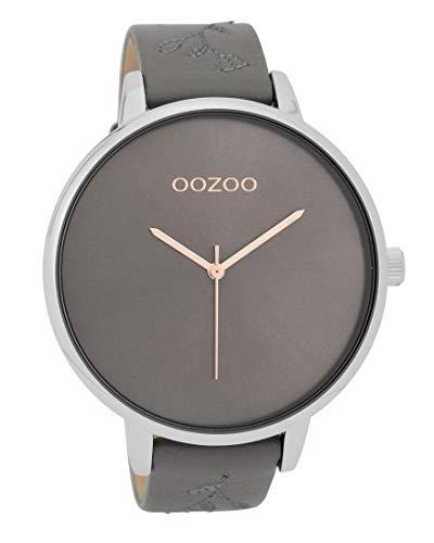 Oozoo Damenuhr mit Lederband 48 MM Dunkelgrau/Dunkelgrau C9719