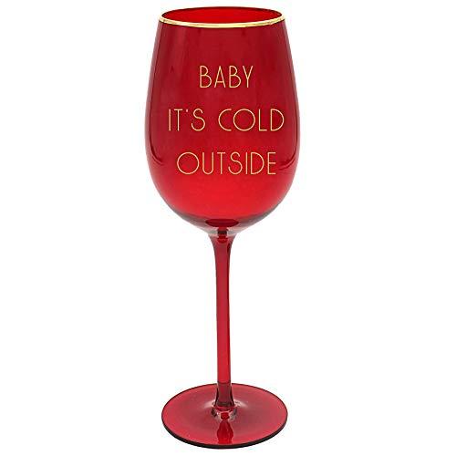 Rode kerst wijnglas met gouden tekst - baby het is koud buiten 8367