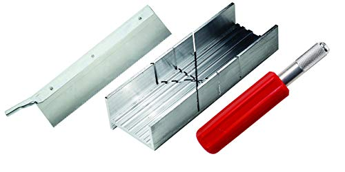 Excel Blades Metal Mitre Box Set with Heavy Duty K5 Handle and Razor Pull Saw Blade, Small Mitre Box and Saw with 2 Cutting Angles for Wood and Soft Metal