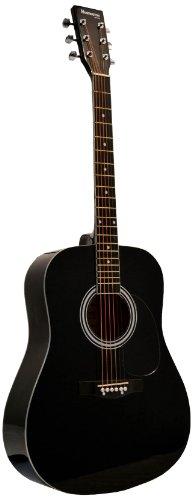 Huntington GA41PS-BK Acoustic Guitar Dreadnaught Steel String with 1 String Winder, 2 String Sets and 3 Premium Picks, Black