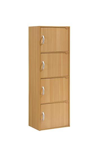 HODEDAH IMPORT 4-Shelf Bookcase Cabinet, Beech