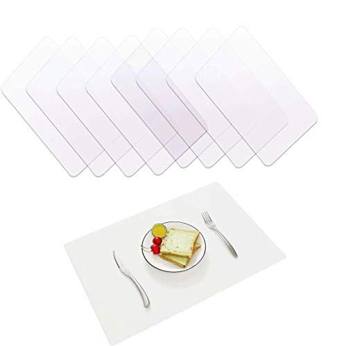 Zsroot Transparent Tischsets Abwaschbar, 8 Stück Platzset Transparent Abwischbar Platzdeckchen für Esszimmer, Küche, Tisch und Schreibtisch