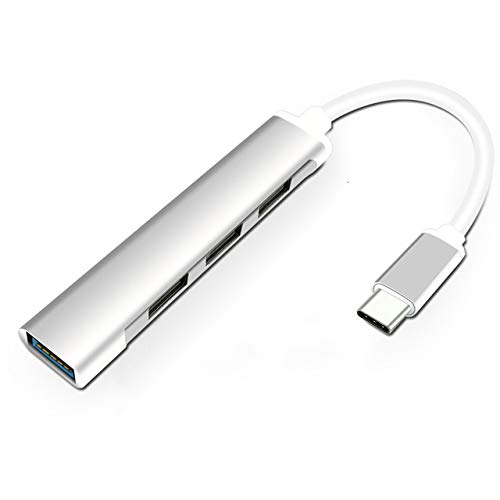 Nething USB C Hub 4 USB-Anschlüsse (1x USB 3.0 - 3x USB 2.0), USB type C auf USB OTG Hub für MacBook, Microsoft Surface, Matebook, Galaxy S21, Galaxy Tab, Huawei P40 Pro P40, P30 (S) ilver)