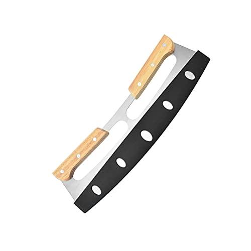 Apricot blossom Cortador de pizza de acero inoxidable con estuche divisor de pizza de doble mango y cuchillo para pasta de pasta, herramientas para cortar la cocina (color: cuchillo con caja)