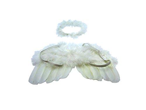 Disfraz de ángel con alas y aureola