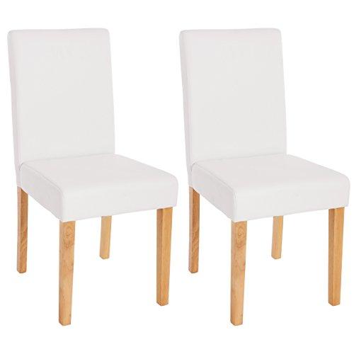 Mendler Lot de 2 chaises de séjour Littau, Simili-Cuir, Blanc Mat, Pieds clairs
