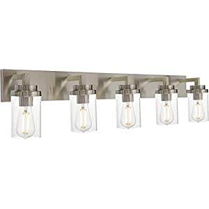 MELUCEE 5-Light Bathroom Vanity Light Brushed Nickel Finish with Clear Glass Shade, Modern Wall Mount Light Fixtures for Bedroom Powder Room Hallway