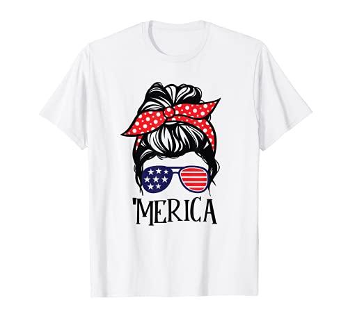 Merica 4 de julio Bandera EE.UU. Chica Mujer Gafas de sol Camiseta