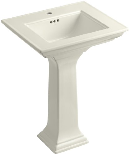 KOHLER K-2344-1-96 Memoirs Pedestal Bathroom Sink with Stately Design and Single-Hole Faucet Drilling, Biscuit