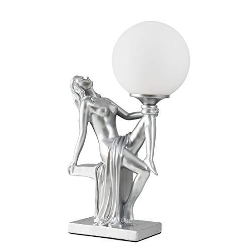 Matt Silver Art Deco Table Lamp with a White Opal Glass Globe Shade