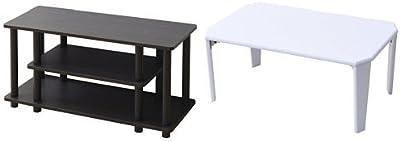 【セット買い】山善(YAMAZEN)テレビ台 幅80 ダークブラウン + 折れ脚 ローテーブル(75×50) ホワイト