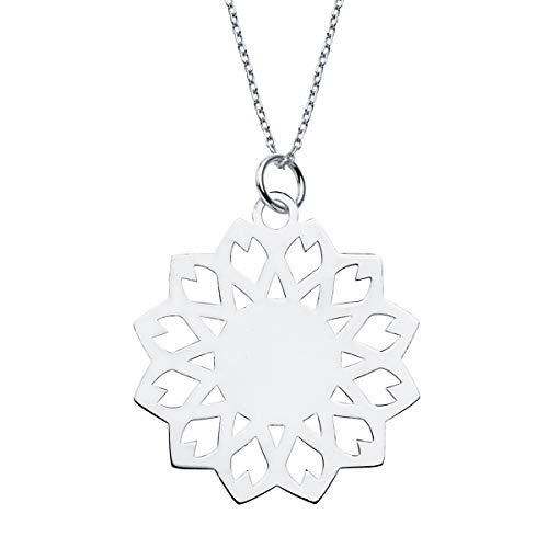 Iyé Biyé Jewels halsketting hanger meisjes dames 925 sterling zilver tegels 30 x 30 mm schakelketting 40 + 5 cm verstelbaar