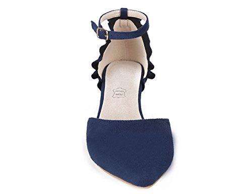MaxMuxun Damen Pumps Kitten Absatz Pointed Toe Party Braut Abend Pumps Blau Größe 39EU - 2