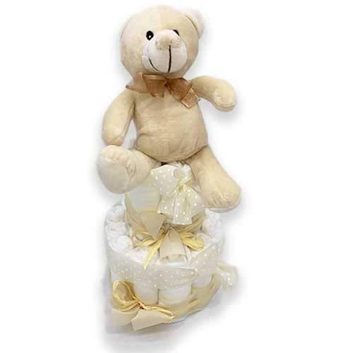 Tarta de pañales DODOT UNISEX - Regalo recién nacido - Incluye tarjeta DEDICATORIA personalizada (2 pisos)