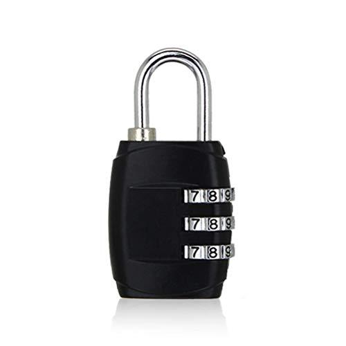 YLSZZTT 3 Dial Digit Password Combination Padlock Suitcase Luggage Gym Safe Code Lock Mini Coded Keyed Anti-Theft Locks (Color : Black)