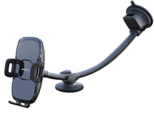 13'' Gooseneck Car Phone Holder, Industrial-Strength Car Phone Mount Windshield Suction Cup, Holder for Cell Phone in Truck, Long Arm Phone Holder Windshield Mount for Truck SUV, Phone Window Mount