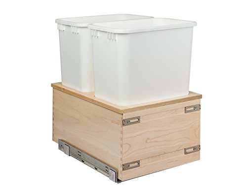 Century Components CASBM14PF Kitchen Pull Out Waste Bin Container - 34 Qt White Double - Baltic Birch - Blum Soft-Close 170 lb MOVENTO 769 Slides 14-78
