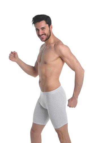 Elegance1234 (Men's Long Boxer) Ref:1150 (Faible(Small), Gris(Grey))