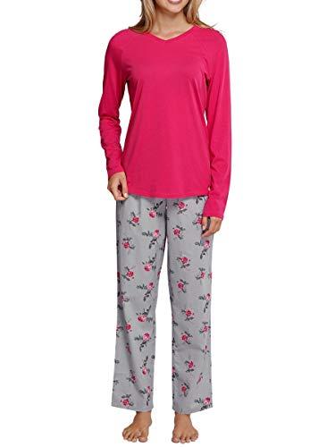 Seidensticker Damen Anzug lang Zweiteiliger Schlafanzug, Rot (Pink 504), 48 (048)
