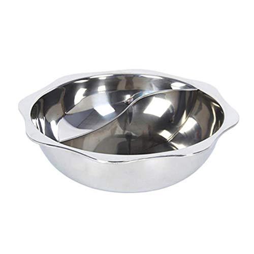 Fablcrew Feuertopf Zwilling geteilt, Kochtöpfe Küche Kasserolle Fondue Topf Edelstahl Hot Pot Selbsthilfe PotSoup(36cm)