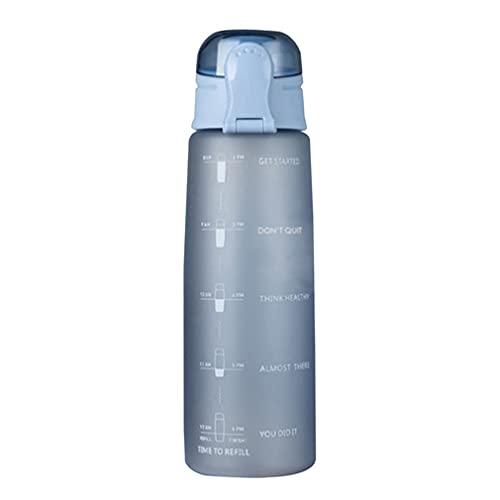 RHNE Botella de Agua de 900 ml Botella de Agua con Tapa de Rebote Ligera y Ambiental con Escala y Boquilla de succión Azul Mate 10 * 3'