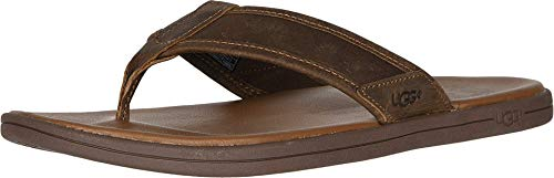 UGG Herren Seaside Flip Leather Sandale, Luggage, 46 EU