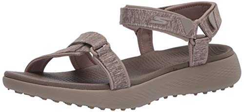 Skechers Women's 600 Spikeless Golf Sandals Shoe, Taupe, 8 M US