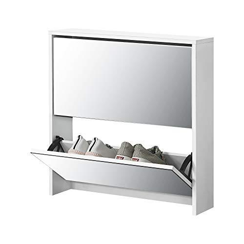 [en.casa] Zapatero con Espejo 67 x 63 x 17 cm Mueble Zapatero Organizador de Zapatos Blanco