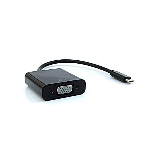 Cabo Adaptador VGA Fêmea para Mini USB-C Macho PlusCable ADP-302BK Preto - Contém USB 3.1 Suporta Resoluções Full HD Compatível com Celular,Tablet,Computador