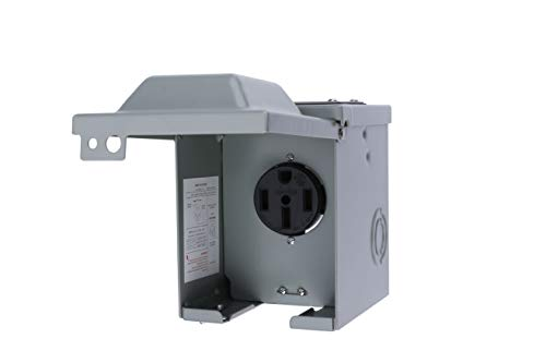 AA Ignition 50 Amp 125/250 Volt Power Outlet Box, Enclosed Lockable - For RV, Campers, Travel Trailer, Motorhome, Electric Car, Generator - 3R Weatherproof Outdoor - NEMA 14-50R Receptacle Panel