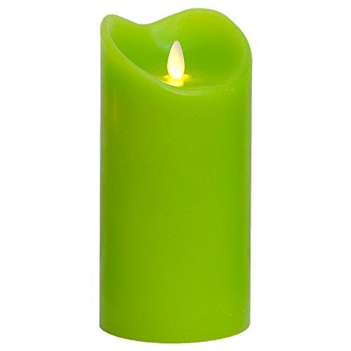 LED Kerze Echtwachskerze mit Timer Ø9,5cm Echtes Wachs 18cm Grün mit Flammen-Simulation