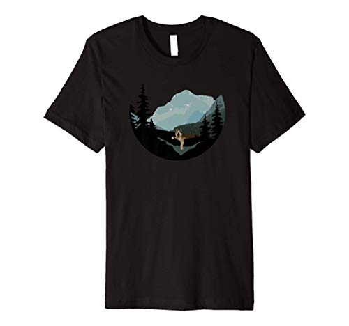 German Shepherd in a Hammock with Mountains, Camping Buddy Premium T-Shirt