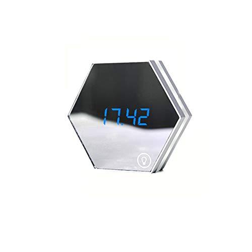 ZYING Espejo Despertador Espejo cosmético con luz Nocturna Termómetro Digital Calendario