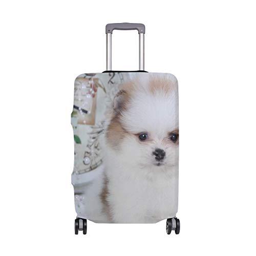 Weißer Flauschiger Spitz-Welpenkoffer-Schutz-elastische Reisegepäck-Abdeckung-regensichere Gepäckabdeckungen mit empfindlichem Druck