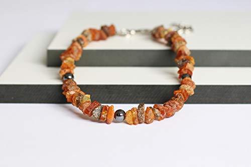 Bernsteinkette für Hunde aus Roh Baltischer Bernstein mit Hematit Beads verziert | Zeckenhalsband | Bernstein Gegen Zecken | Zecken und Flohschutz Halsband (45-50 cm)