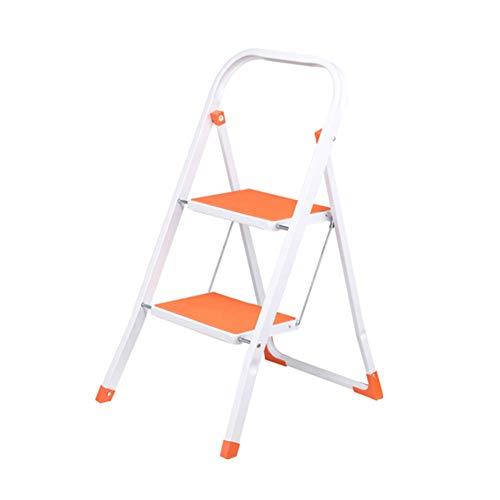 Stufenleiter, 2-Schritt Tragbarer Stufenleiter Haushalt Folding Leiter Eisen Removable Stabilität und Sicherheit (Color : Orange)