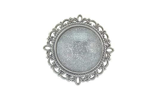 Magnetbrosche, Clip, Schmuckanhänger aus Edelstahl mit Verzierung, 20mm, handgefertigt, grau mit Glitzer