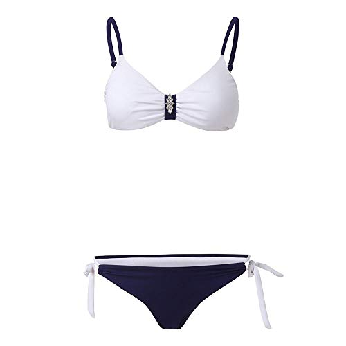 STaemin Maillot de Bain pour Femmes Soutien-Gorge rembourré Push Up Conjunto Sexy Deux pièces Style brésilien Bikini vêtements pour la Plage 19dc-Blanco_Metro