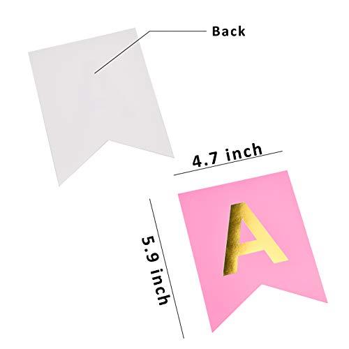 Kare & Kind 1x Banner Colgante de Feliz Cumpleaños - Cartel para Fiesta de Cumpleaños con Letras Rosado y Doradas – Decoración de Feliz Cumpleaños Fácil de Armar