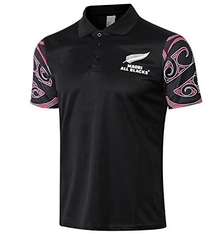 Männer Rùgby Jérsey Team New Zealand Maori All Blacks 2018-19-Trainingsfußballbekleidung Männer Casual Sport-T-Shirt,Black2-XL