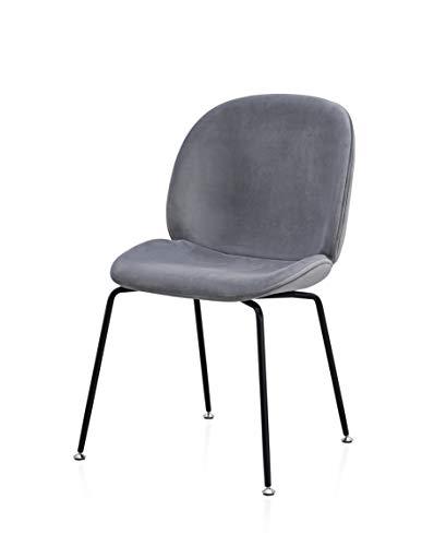 Popfurniture Samt Designer Esstisch Stühle | stylisch & Leichter Aufbau | Auch ideal als Schminktisch Stuhl & Samt Stuhl | Stühle Esszimmer, Stuhl Esszimmer, Stuhl Samt, Esszimmerstühle Samt | Grau